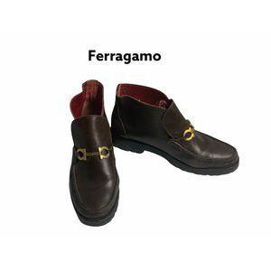 Salvatore Ferragamo Brown Flat Ankle Boots. Sz 8